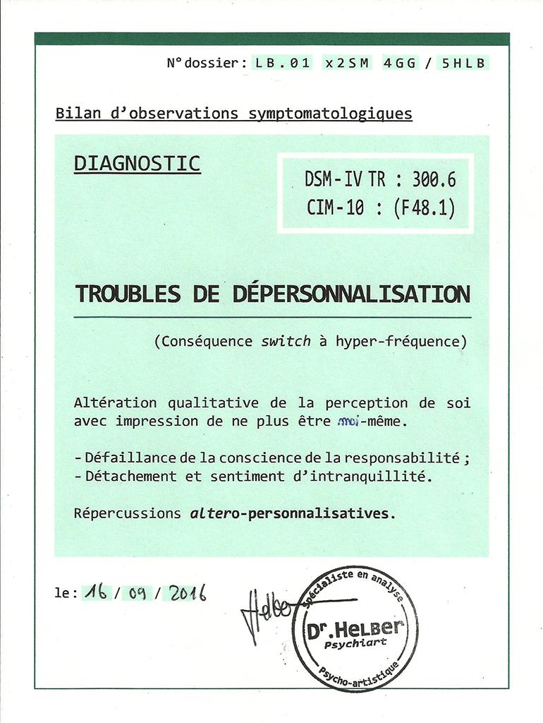 Diagnostic de troubles de dépersonnalisation du Docteur Helber