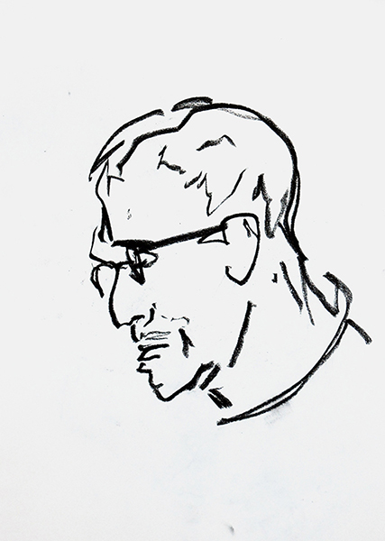 Smëms, portrait d'homme de profil, sommaire de la galerie Figures et Portraits