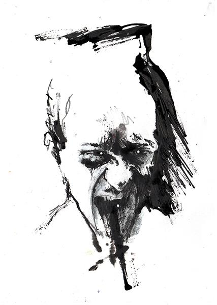 Gouniet, Autoportrait hurlant aux yeux crevés, sommaire de la galerie Autoportraits narcissiques