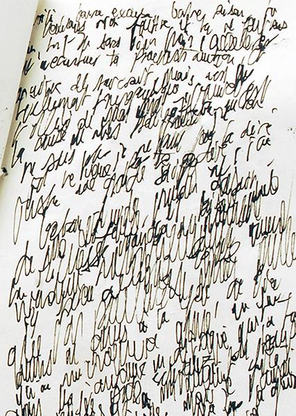 Gouniet, Écriture illisible, sommaire de la galerie Graphorrhées