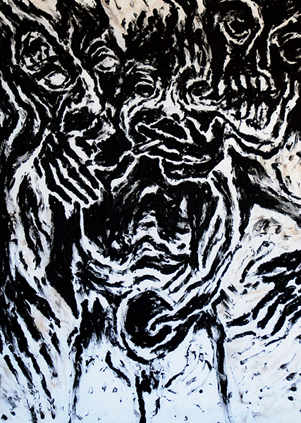 Gouniet, peinture Pacte avec les monstres noir et blanc