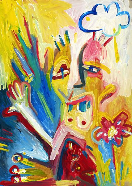Gro, peinture d'un bonhomme avec une fleur, sommaire de la galerie Créations diverses