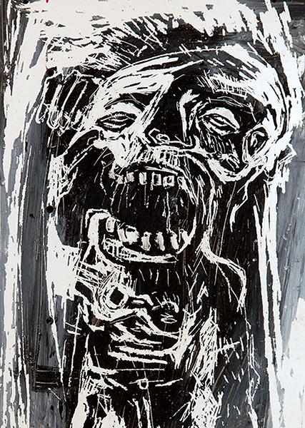SGG, peinture noire grattée, sommaire de la série CRMN